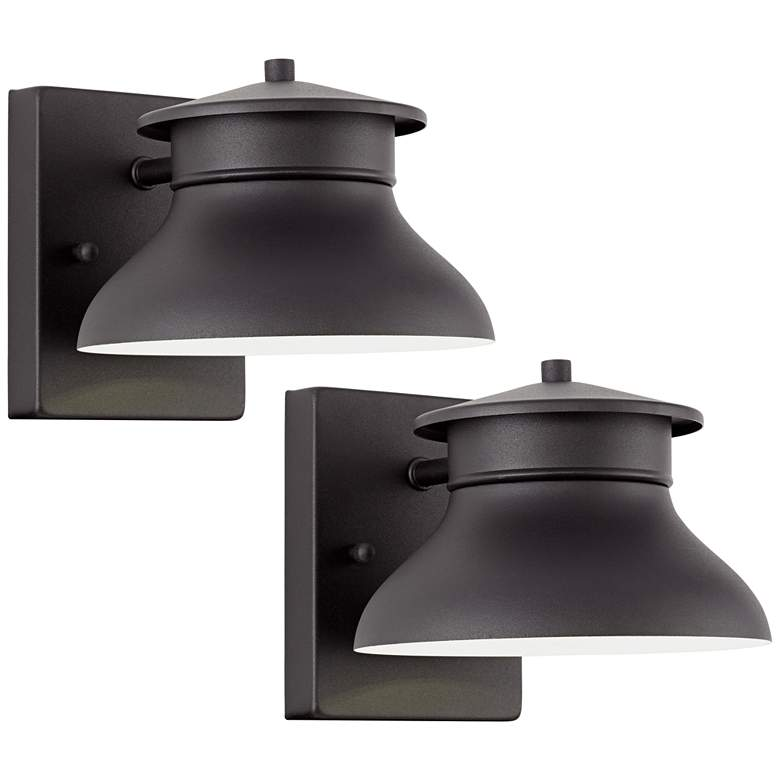"Danbury 5"" High Black LED Outdoor Wall Lights Set of 2"