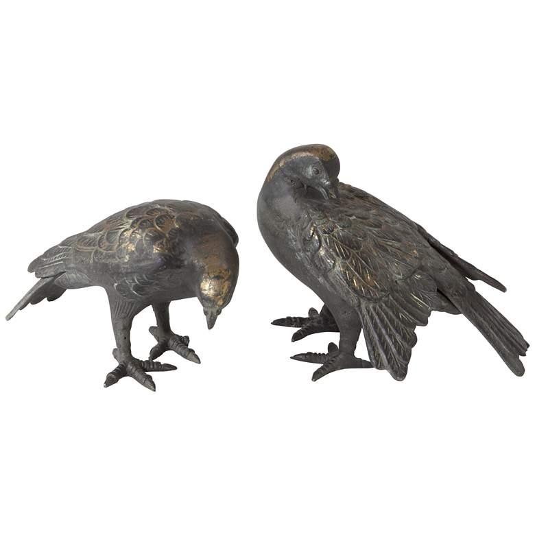"Doves 7 1/2""W Aged Gold Leaf Bird Figurine"