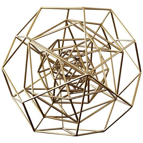 "Geo 18 1/4""W Large Molecular Gold Iron Tabletop Sculpture"