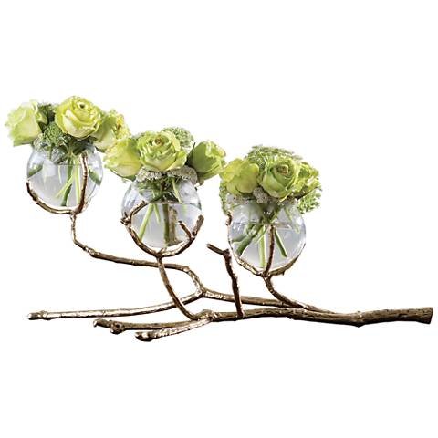 "Twig 24""W Cast Brass Holder with 3-Clear Glass Bud Vases"