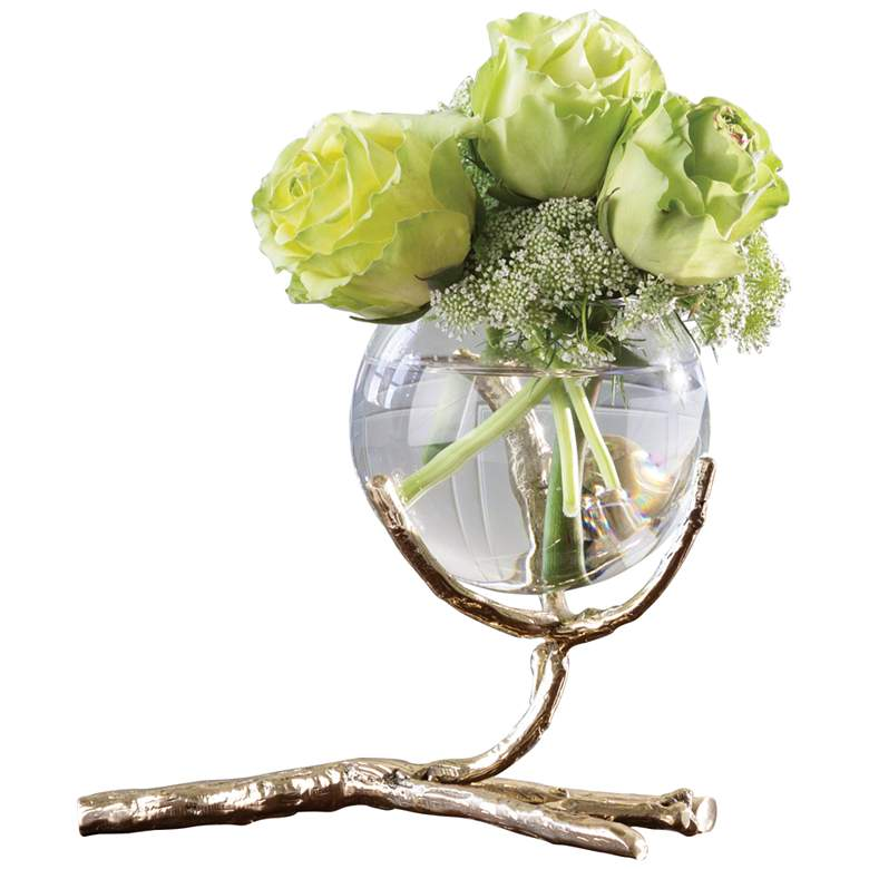 "Twig 8"" Wide Cast Brass and Clear Glass Bud Vase"