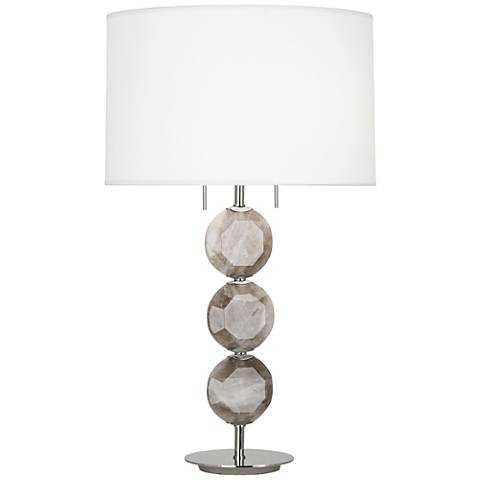 Robert Abbey Hope Polished Nickel Smoky Crystal Table Lamp