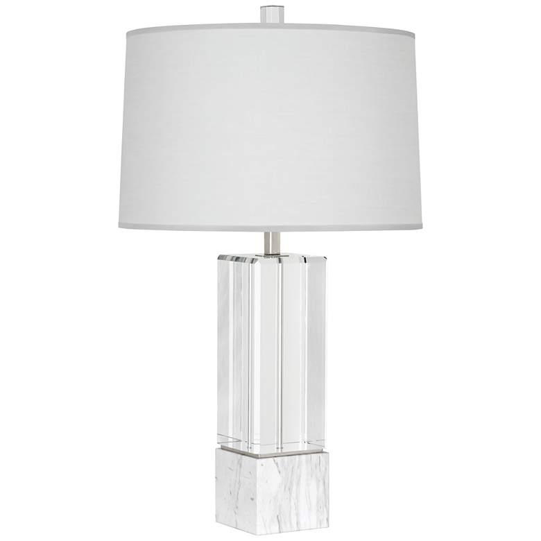 Robert Abbey Hugo Crystal Marble and Pearl Shade Table Lamp