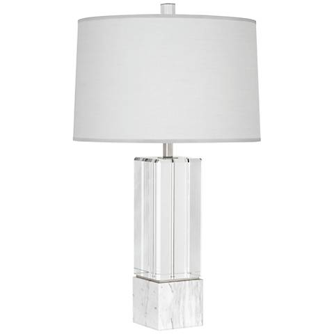 Robert Abbey Hugo Crystal Marble and Pearl Shade Table Lamp