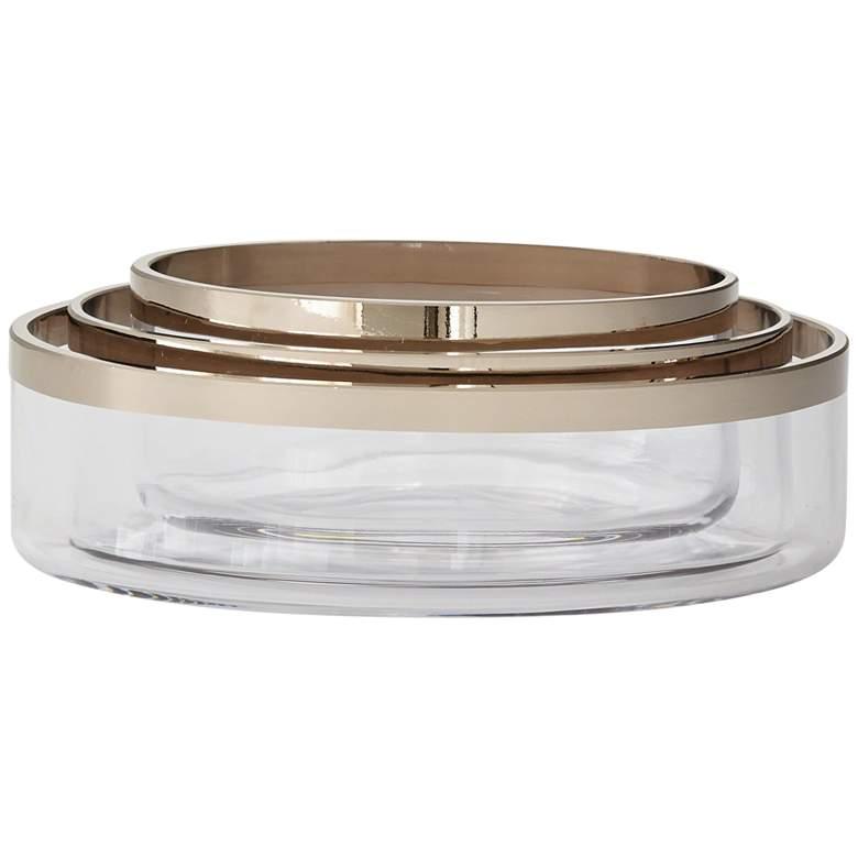 Platinum Band Glass Oval Nesting Bowls 3-Piece Set