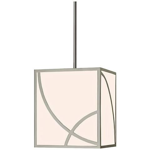 """Sonneman Haiku 12""""W Satin Nickel Lantern LED Mini Pendant"""