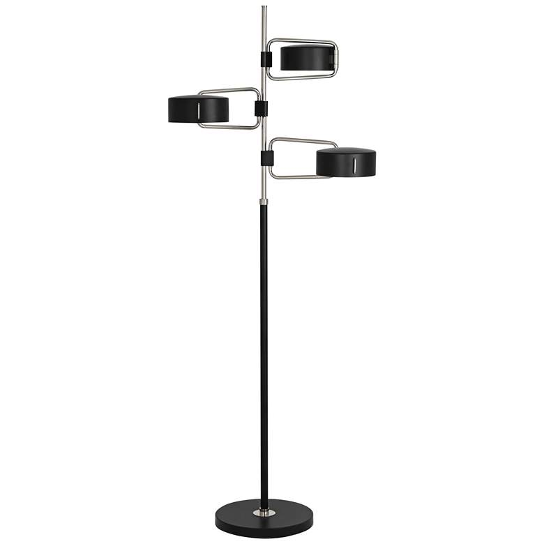 Robert Abbey Simon Polished Nickel Black 3-Light Floor Lamp