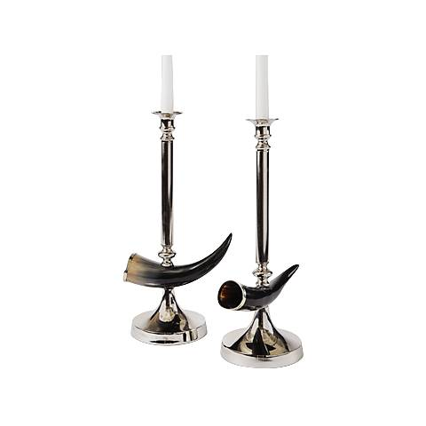 Maison Home Otis Polished Nickel Taper Candle Holders Set of 2