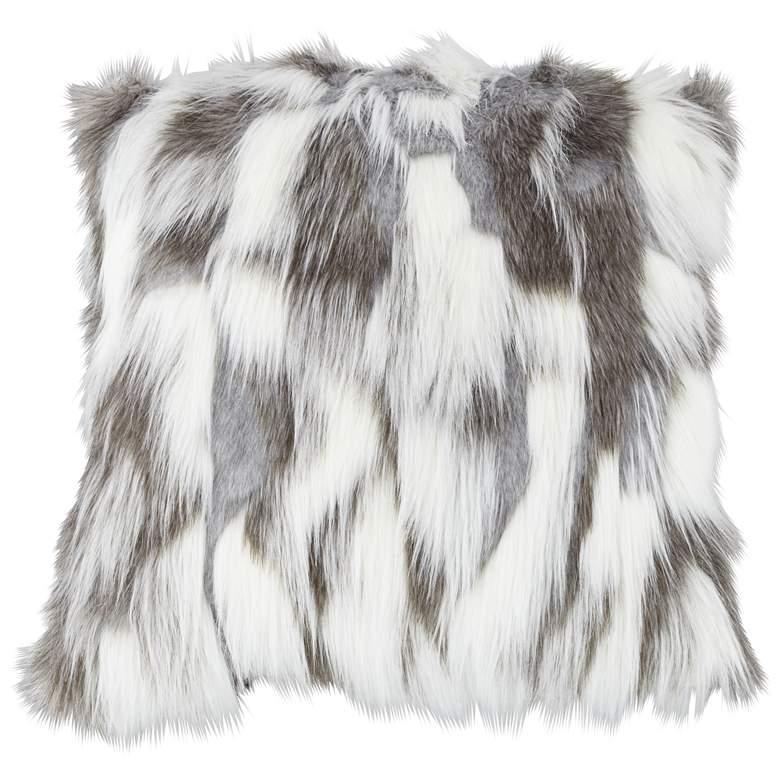 "Nordic Fox White and Gray 18"" Square Plush Faux Fur Pillow"