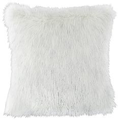 "Glamour Fox Ivory and Silver Specks 18""W Faux Fur Pillow"