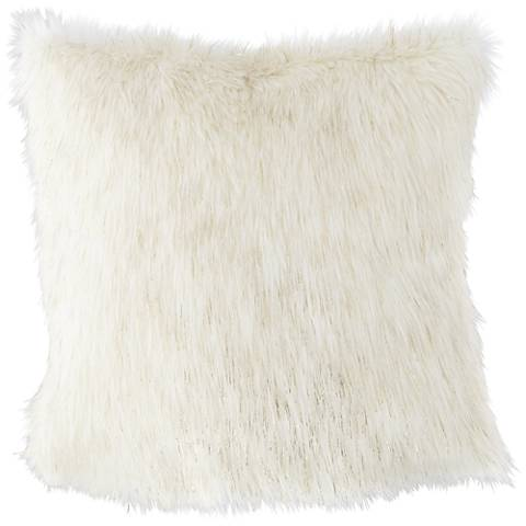 "Glamour Fox Ivory and Gold Specks 18""W Faux Fur Pillow"