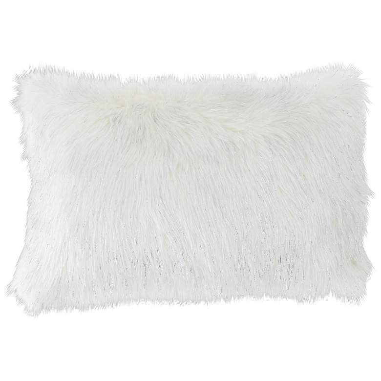 "Glamour Fox Ivory and Silver Specks 20""W Faux Fur Pillow"