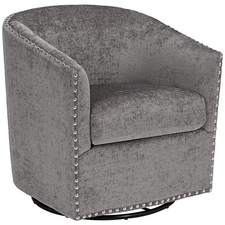 Tyler Xandu Gray Melange Fabric Swivel Armchair