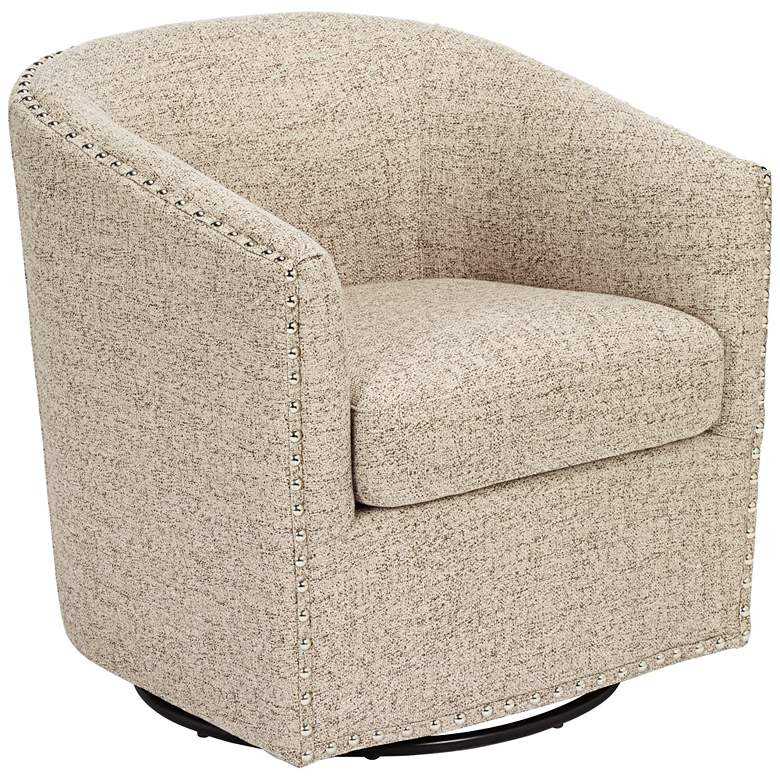 Tyler Trinity Stone Fabric Swivel Armchair