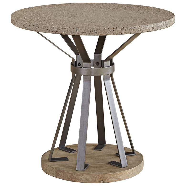 Lambert Concrete Top Weathered Acacia Wood Round End Table