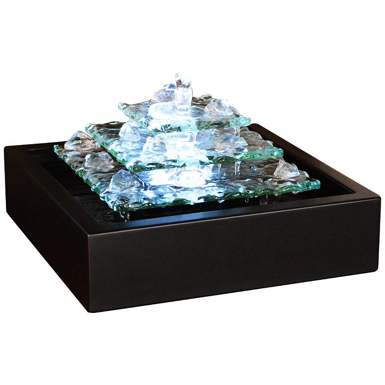 """Glacier Ice 6 1/2"""" High Indoor LED Table Fountain"""