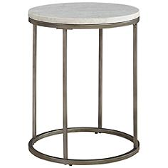 Alana Steel and White Marble Top Round End Table