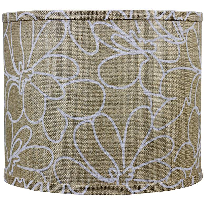 Burlap and White Floral Drum Shade 12x12x10 (Spider)