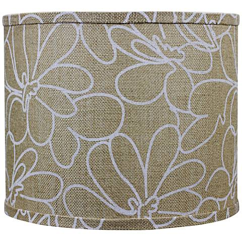 Burlap and White Floral Drum Shade 14x14x11 (Spider)