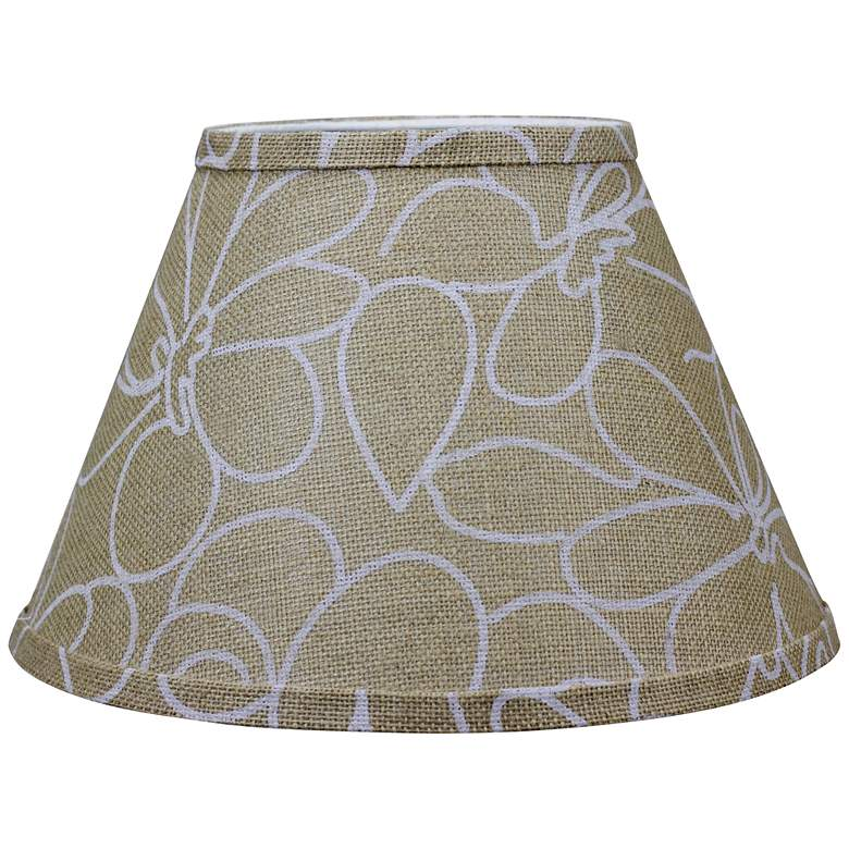 Burlap and White Floral Empire Shade 8x14x10.25 (Spider)