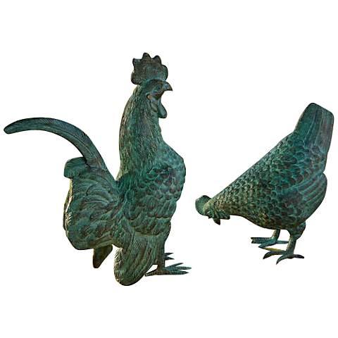 Henri Studio Chickens 2-Piece Brass Garden Figurine Set