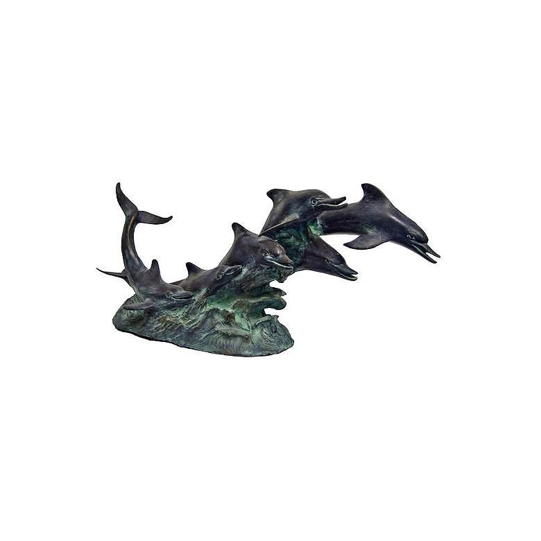"Henri Studio Dolphins Riding Waves 21"" Wide Bronze"