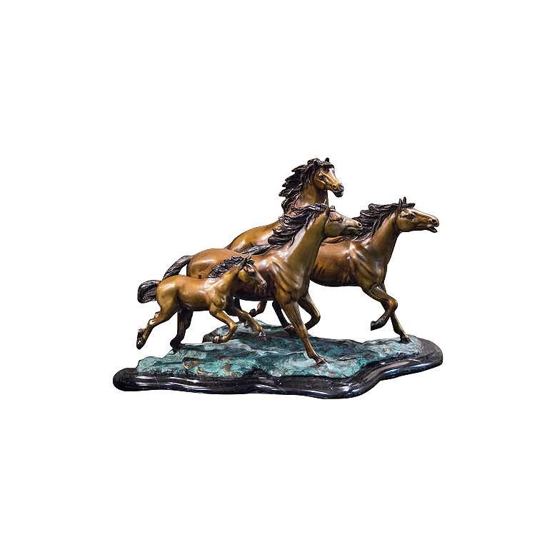"Henri Studio 4 Galloping 20 1/2""W Brass Horse"