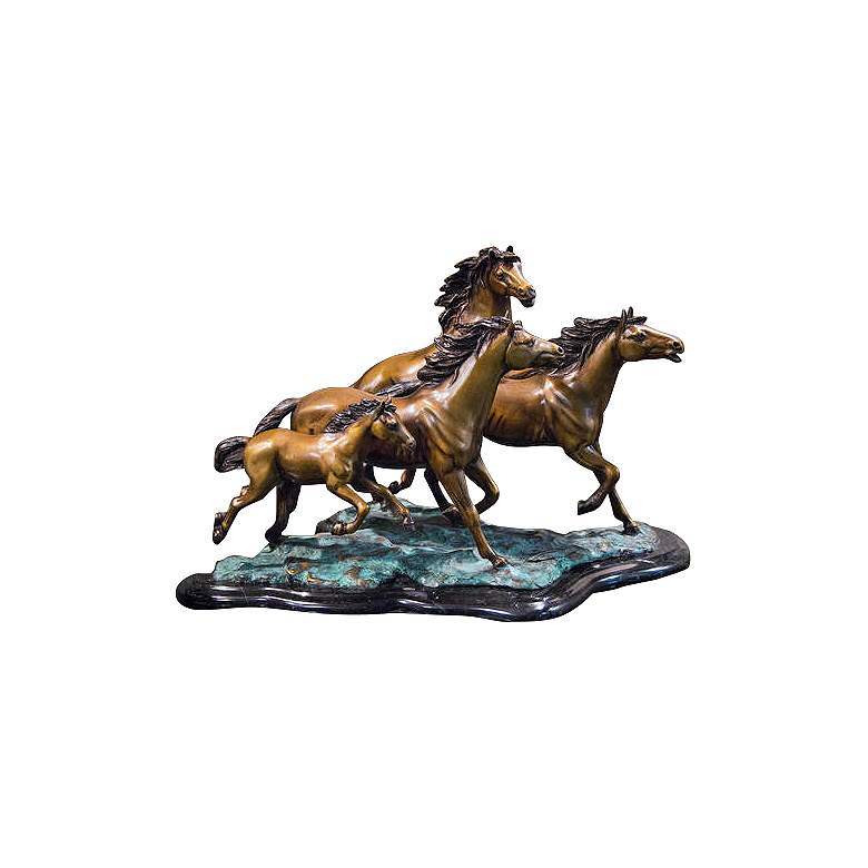 "Henri Studio 4 Galloping 20 1/2""W Brass Horse Sculpture"