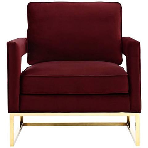 Avery Maroon Upholstered Velvet Armchair