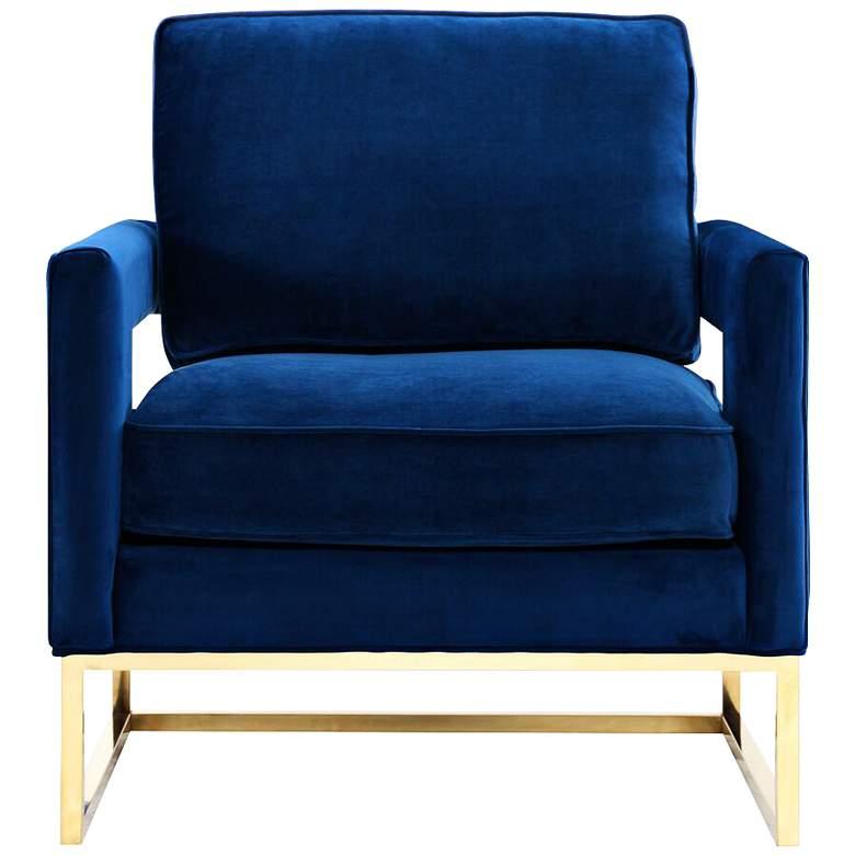 Avery Navy Blue Upholstered Velvet Armchair