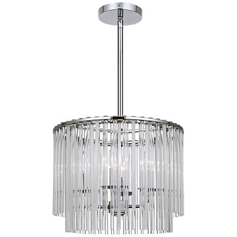 "Crystorama Bleecker 16""W Chrome Frost Glass Pendant Light"