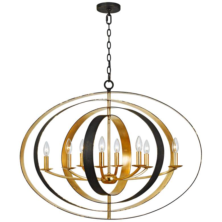 """Crystorama Luna 36"""" Wide Bronze and Gold Oval Chandelier"""