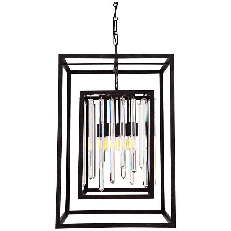 "Crystorama Hollis 31""H Forged Bronze Box Pendant Light"