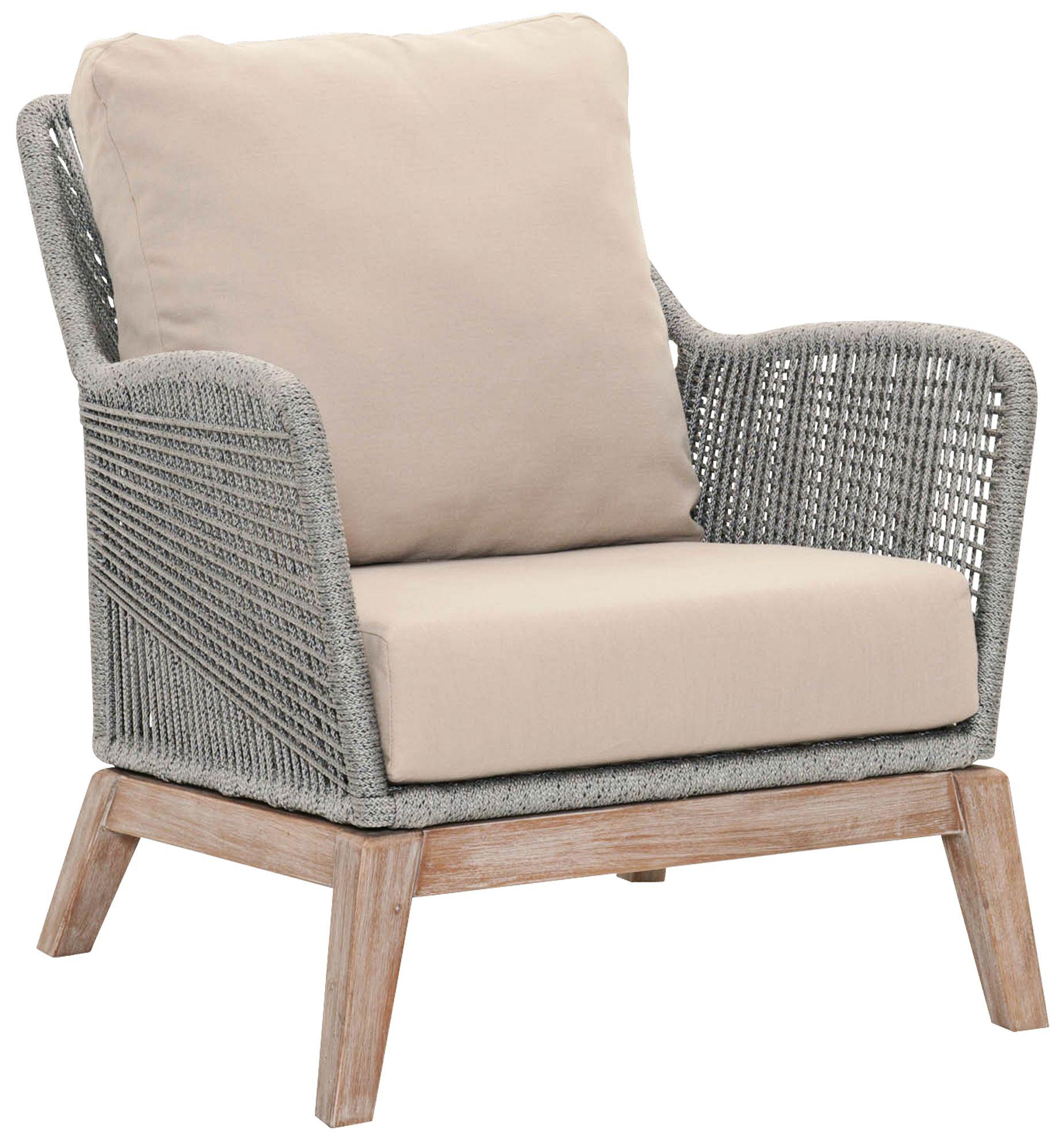 New Wicker Loom Mahogany And Platinum Rope Club Chair