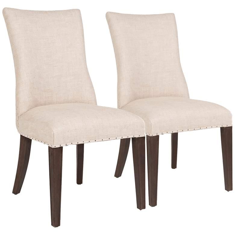 Essentials Lourdes Bisque French Linen Dining Chair Set