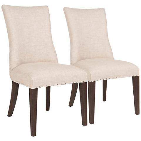 Essentials Lourdes Bisque French Linen Dining Chair Set of 2