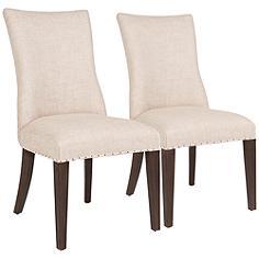 Essentials Lourdes Bisque French Linen Dining Chair Set of 2