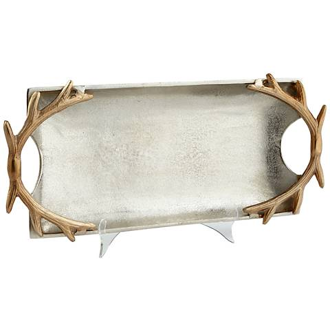 Antler Handle Nickel and Gold Large Tray