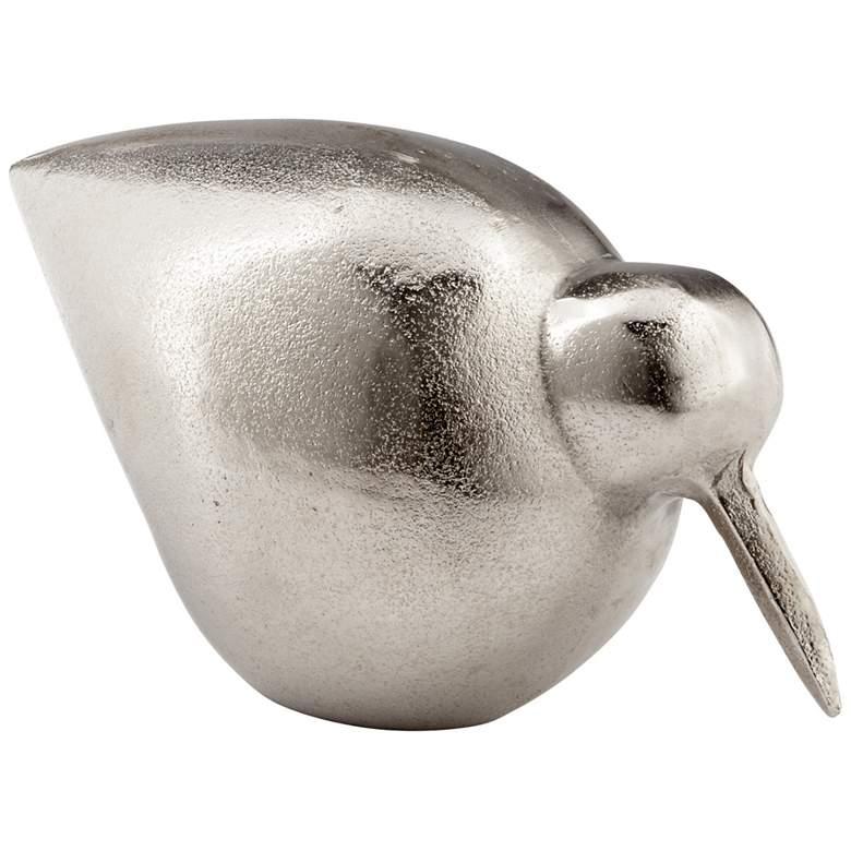 "Modern Bird 6"" High Raw Nickel Accent Sculpture"