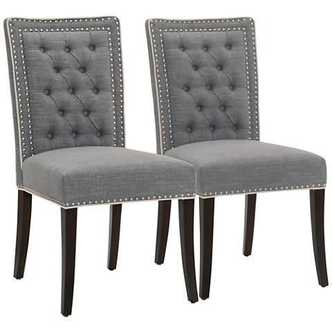 Villa Brandt Smoke Fabric Dining Chair Set of 2