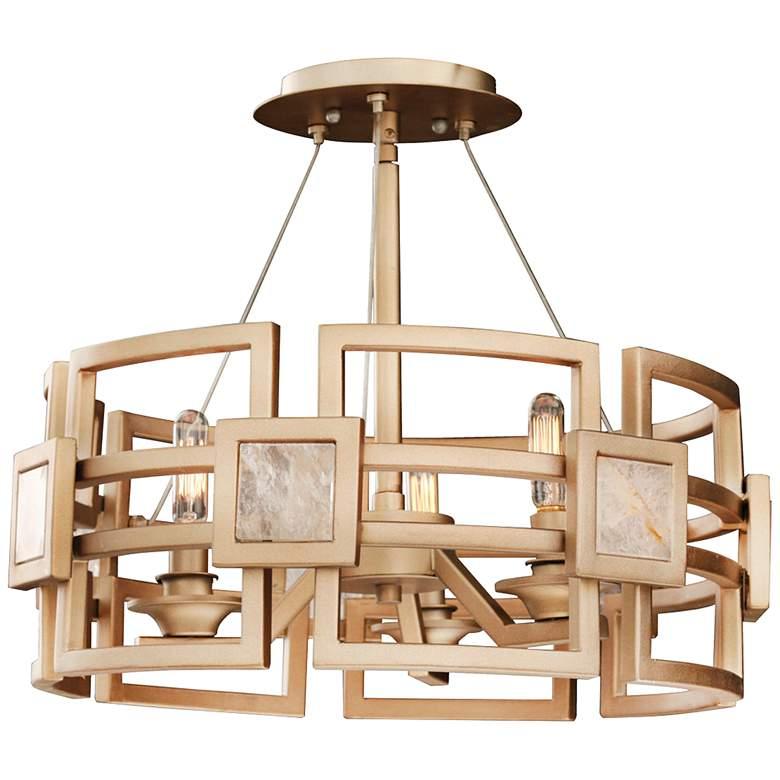"Metropolis 17""W 3-Light Modern Gold Drum Ceiling Light"