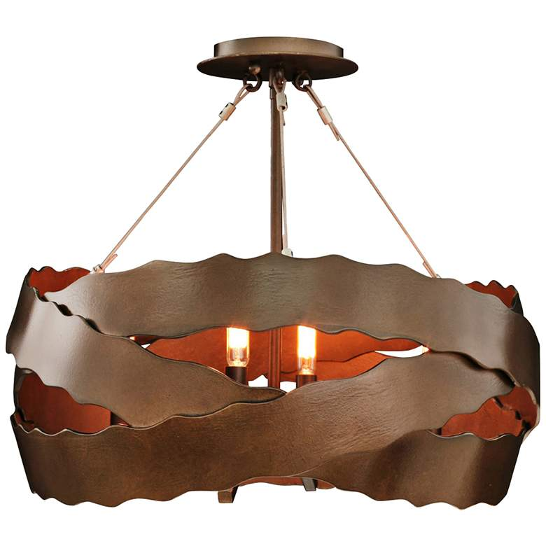 """Fulton 20"""" Wide Brownstone Wrapped Iron Ceiling Light"""