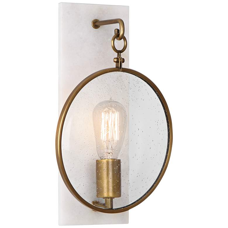 """Fineas 14 1/4"""" High Alabaster-Bronze Plug-In Wall Sconce"""