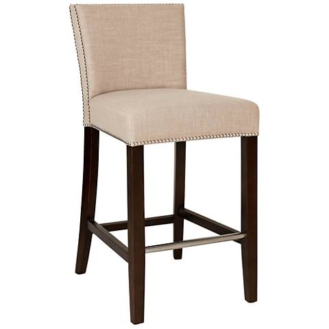 villa soho 29 almond linen fabric armless bar stool 1p577 lamps plus. Black Bedroom Furniture Sets. Home Design Ideas