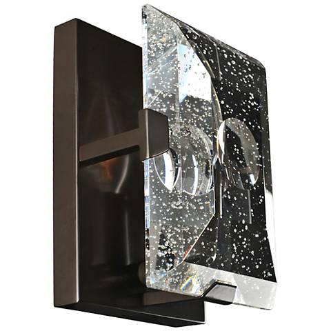 "Giada 6 3/4""H Bubble Crystal Slab Dark Bronze Wall Sconce"