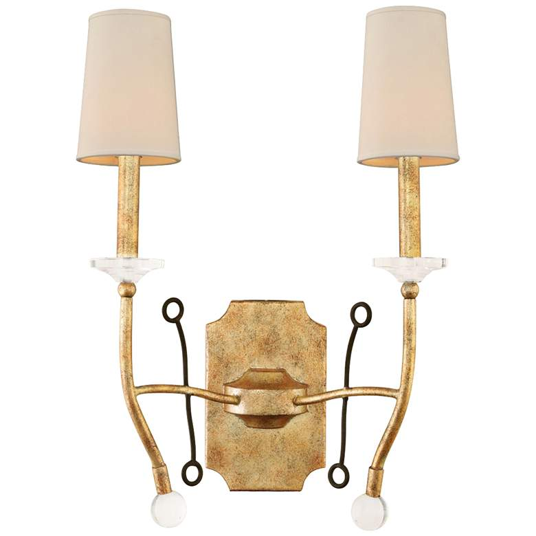 "Waverly 22""H Honey Gold Forged Iron 2-Light Wall Sconce"