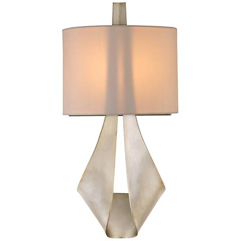 "Barrymore 18 1/4""H Silk Shade Pearl Silver Wall Sconce"