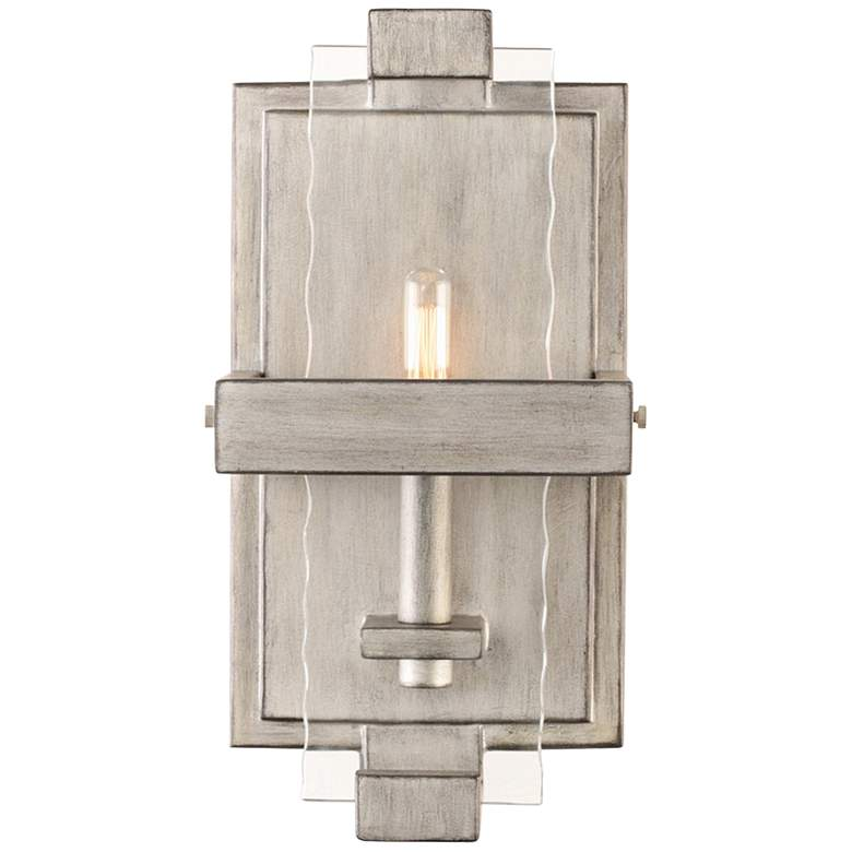 "Astoria 13""H Moon Silver Abstract Industrial Wall Sconce"