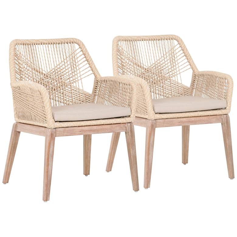 New Wicker Loom Mahogany and Sand Rope Arm Chair Set of 2