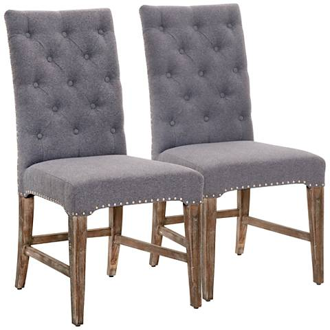 Traditions Wilshire Heather Gray Dining Chair Set of 2